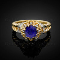 14K Gold Braided Band Blue Sapphire Solitaire Halo Diamond Ring