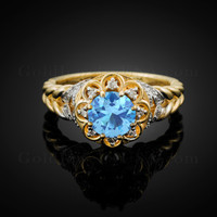 14K Gold Braided Band Aquamarine Birthstone Halo Diamond Ring