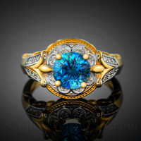 14K Gold Blue Topaz Solitaire Fleur-de-Lis Halo Diamond Engagement Ring