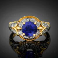 Blue Sapphire diamond setting engagement ring