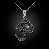 14k White Gold Om Black Diamond Necklace