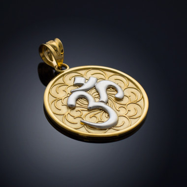 Two tone gold om medallion pendant gold jewelry usa two tone gold om medallion pendant necklace aloadofball Image collections