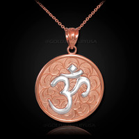 Two-Tone Rose Gold Om Medallion Pendant Necklace