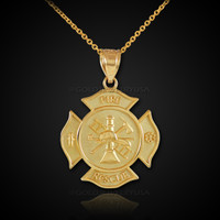 Solid Gold Firefighter Fire Rescue Medal Badge Pendant Necklace