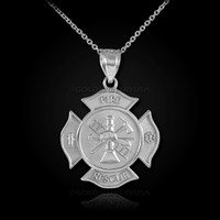 White Gold Firefighter Fire Rescue Medal Badge Pendant Necklace