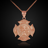 Rose Gold Firefighter Fire Rescue Medal Badge Pendant Necklace
