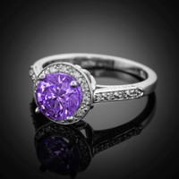 14K White Gold Amethyst Solitaire Halo Diamond Setting Engagement Ring