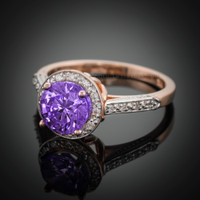 14K Rose Gold Amethyst Solitaire Halo Diamond Setting Engagement Ring