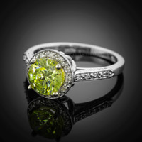 14 white gold peridot promise ring