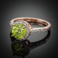 14k rose gold peridot ring