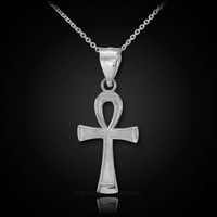 White gold ankh necklace