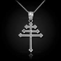 White Gold Maronite Aramaic Cross Diamond Pendant Necklace