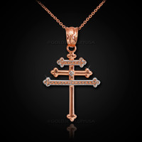 Rose Gold Maronite Aramaic Cross Diamond Pendant Necklase