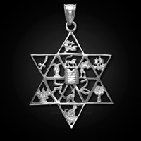 White gold star of David pendant with 12 Israel tribes.
