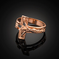 Rose Gold Open Crucifix Cross Ring