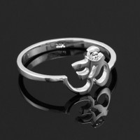 Dainty White Gold Om Diamond Ring