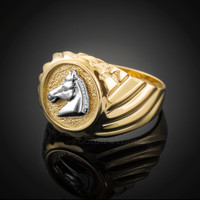 Gold Horse Head Men's Ring