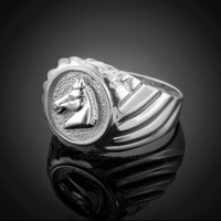 White Gold Horse Head Men's Ring