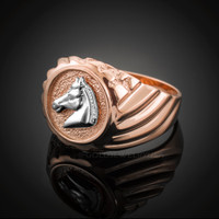 Rose Gold Horse Head Men's Ring