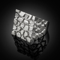 Men's White Gold Square Nugget Ring