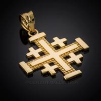 Yellow Gold Jerusalem Cross Pendant
