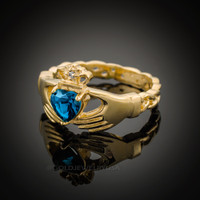 Gold Celtic Band Blue Topaz CZ Claddagh Ring