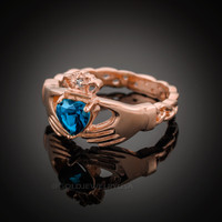 Rose Gold Celtic Band Blue Topaz CZ Claddagh Ring