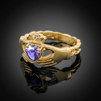 Gold Celtic Band Amethyst CZ Claddagh Ring