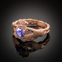 Rose Gold Celtic Band Amethyst CZ Claddagh Ring