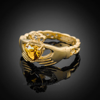 Gold Celtic Band Citrine CZ Claddagh Ring