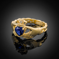 Gold Celtic Band Sapphire CZ Claddagh Ring