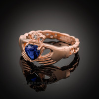 Rose Gold Celtic Band Sapphire CZ Claddagh Ring