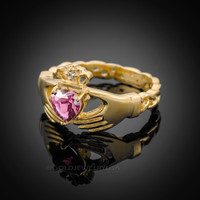 Gold Celtic Band Pink Zirconia Claddagh Ring