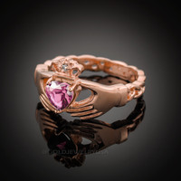 Rose Gold Celtic Band Pink Zirconia Claddagh Ring