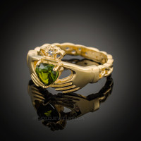 Gold Celtic Band Peridot CZ Claddagh Ring