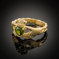 Gold Celtic Band Peridot CZ Claddagh Ring