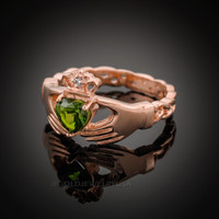 Rose Gold Celtic Band Peridot CZ Claddagh Ring