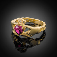 Gold Celtic Band Alexandrite CZ Claddagh Ring