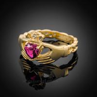 Gold Celtic Band Alexandrite CZ Claddagh Ring
