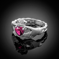 White Gold Celtic Band Alexandrite CZ Claddagh Ring