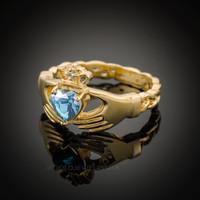 Gold Celtic Band Aquamarine CZ Claddagh Ring