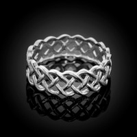 White 14k White Gold Celtic Weave Wedding Band