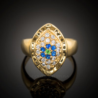 14k Gold Evil Eye CZ Pave Ring