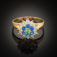 14k Gold Evil Eye CZ Ring