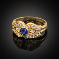 14k Yellow Gold Evil Eye CZ Ring