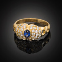 14k Solid Gold Evil Eye CZ Ring