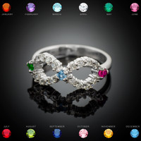 White Gold Infinity 3-Birthstone CZ Ring