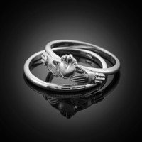 White Gold Claddagh Engagemet Ring Set