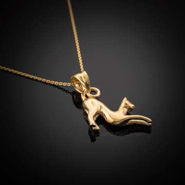 Solid gold stretching cat pendant necklace mozeypictures Choice Image