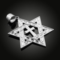 White Gold Star of David Cross Large Pendant